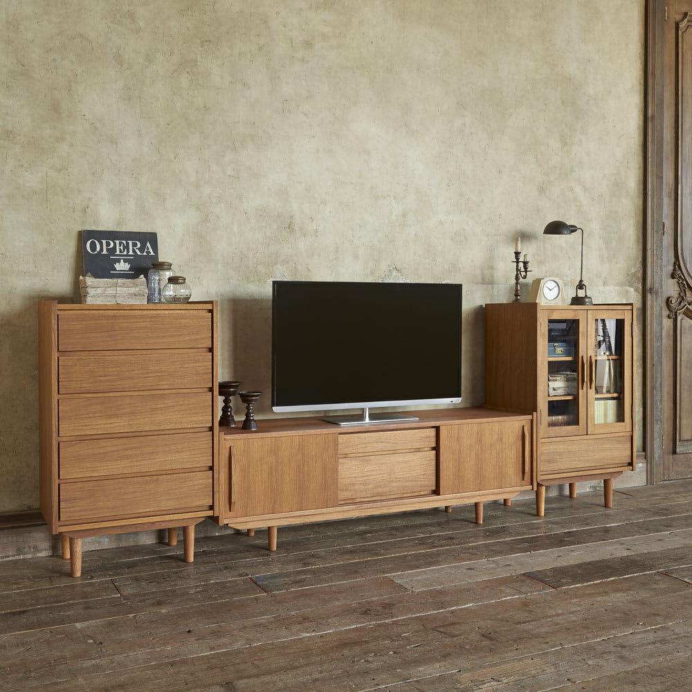 北欧ヴィンテージ風 チーク材 リビング収納 テレビ台 幅150cm 人気の北欧インテリアにもぴったりです。