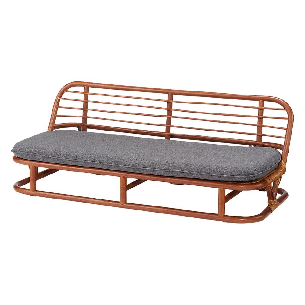 ラタン座椅子ソファシリーズ ソファ 幅120cm (イ)グレー