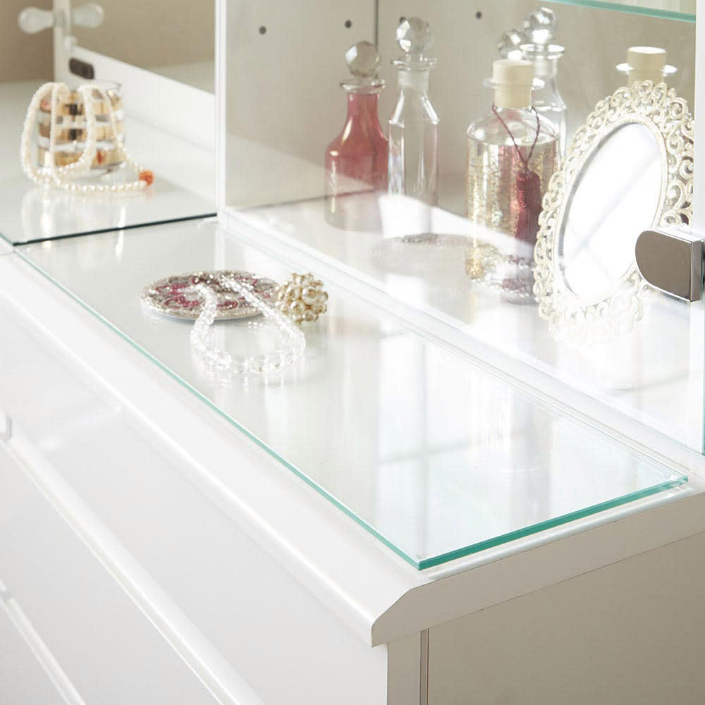 LEDライト付き 楽屋ドレッサーシリーズ ガラスキャビネット付き チェスト 幅45cm 美しいガラス天板です。