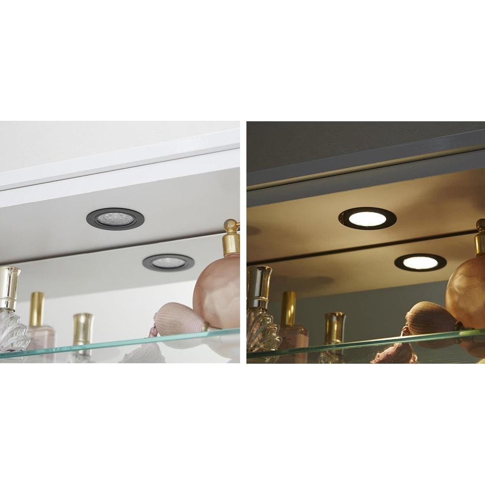 LEDライト付き 楽屋ドレッサーシリーズ ガラスキャビネット付き チェスト 幅45cm 消費電力の少なく耐久性の高いLEDライトです。