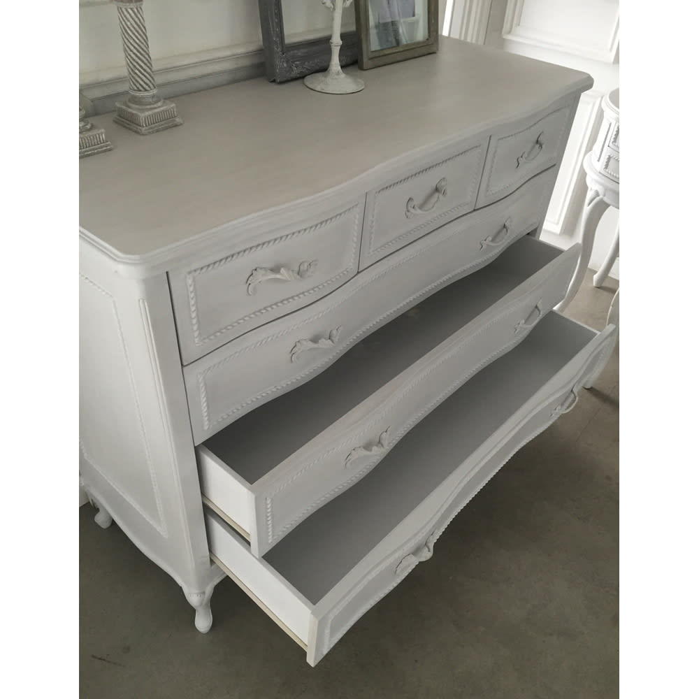 シャビーシック ホワイト フレンチ収納家具シリーズ チェスト 幅120 引出しは、出し入れスムーズなレール付です。
