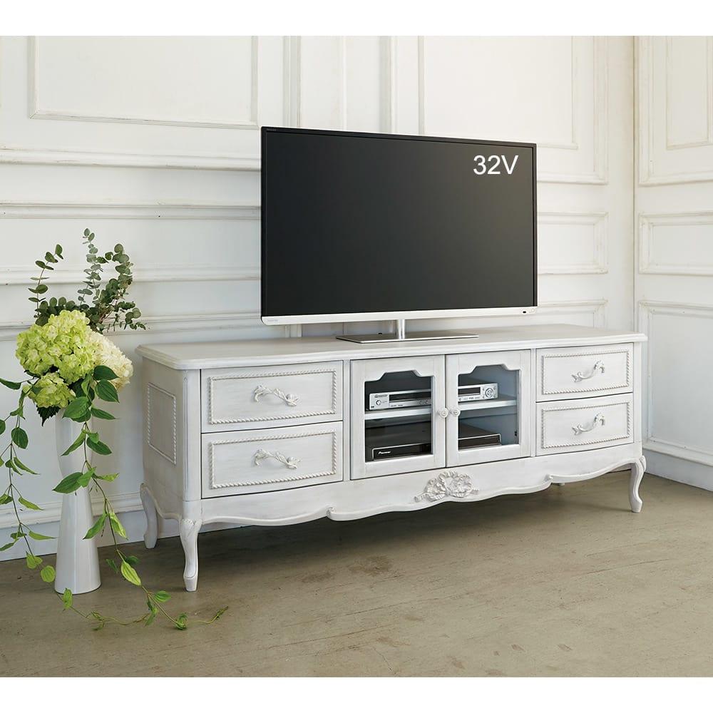 シャビーシック ホワイト フレンチ収納家具シリーズ テレビ台 幅120cm リビングダイニングに華やかさを添えます。※写真は幅150cmタイプです。