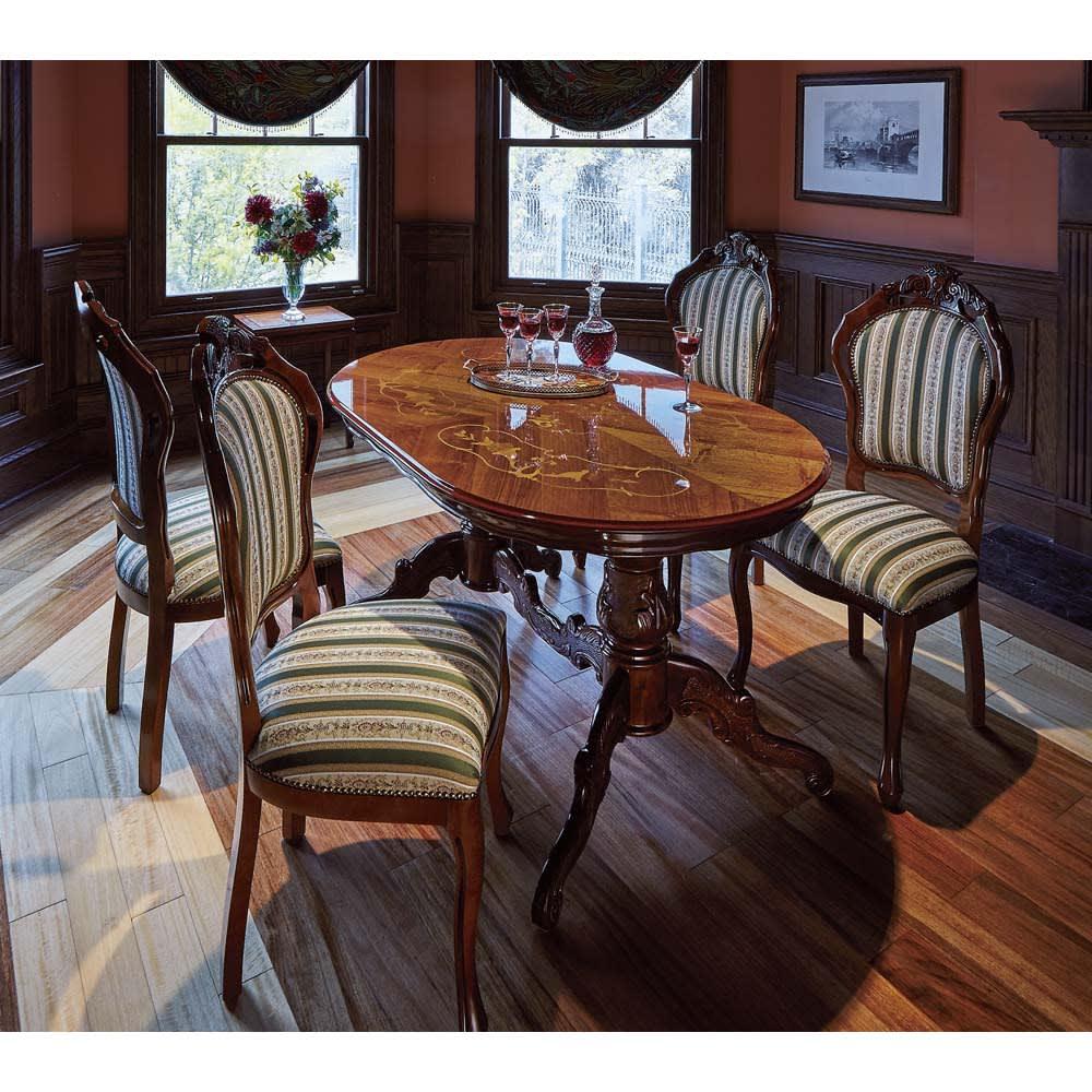 イタリア製 金華山シリーズ 象がんオーバルダイニングテーブル 高級感ある佇まいで、お部屋を贅沢なくつろぎの空間に。※お届けはオーバルダイニングテーブルです。