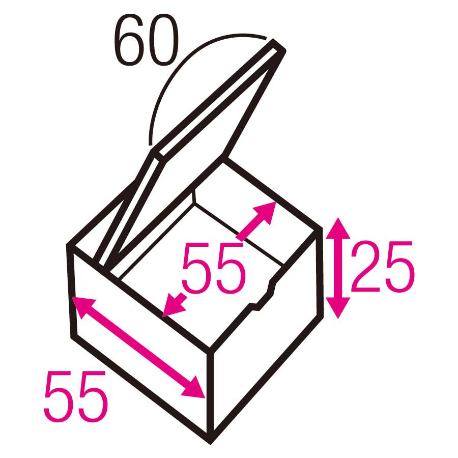 跳ね上げ式ユニット畳 ヘリ無しミニ半畳 高さ33cm 寸法図(単位:cm) ※赤文字は内寸、黒文字は外寸表示です。 収納部は仕切りなしでたっぷり入れられます。