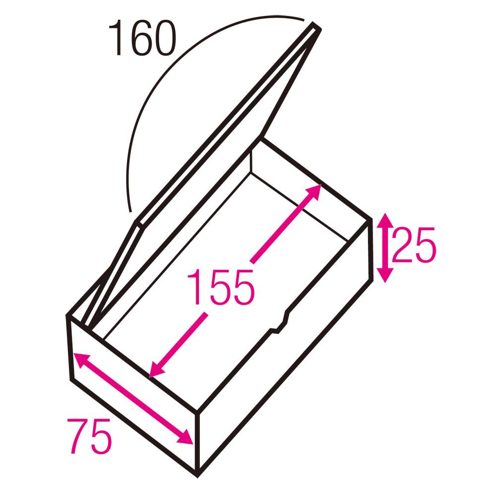 跳ね上げ式ユニット畳 ヘリ無し1畳 高さ33cm 寸法図(単位:cm) ※赤文字は内寸、黒文字は外寸表示です。 収納部は仕切りなしでたっぷり入れられ、ゴルフバッグのような長尺物も収まります。