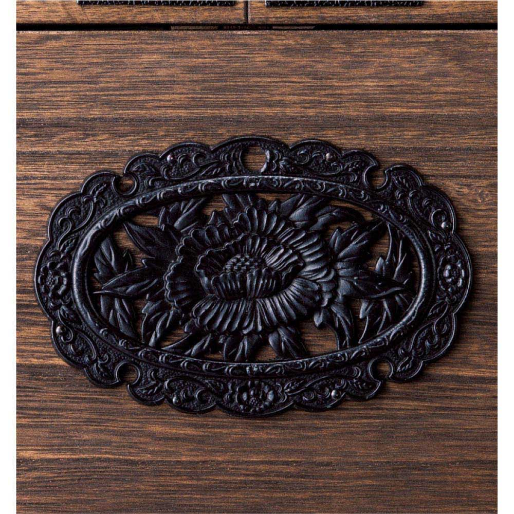 総桐民芸箪笥 5段ハイチェスト・幅100高さ98.5cm 存在感を際立たせる装飾金具。