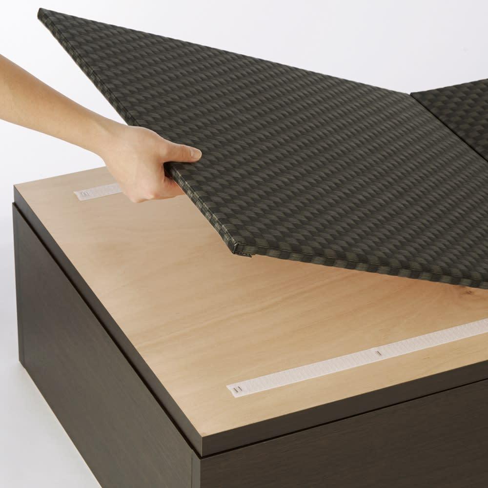 市松模様美草ユニット畳シリーズ セット品 高さ40cm 収納部と畳の着脱はマジックテープ式。不用意に開いたりズレたりすることもなく、どなたでも軽い力で簡単に開け閉めでき、畳替えも簡単にできます。
