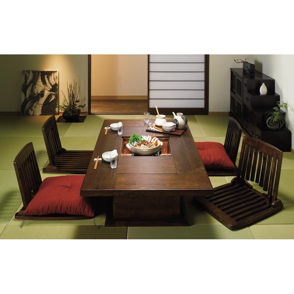 へりなしフロア畳 3畳用(6枚組)[い草ラグ] 使用例:畳の色は商品と異なります。