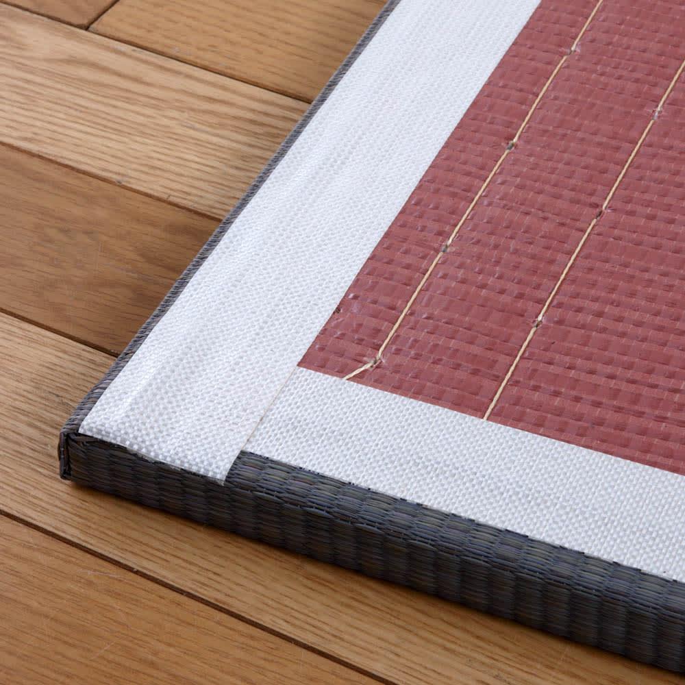 へりなしフロア畳 4.5畳用(9枚組)[い草ラグ] 裏面には滑り止め加工がしてあります。