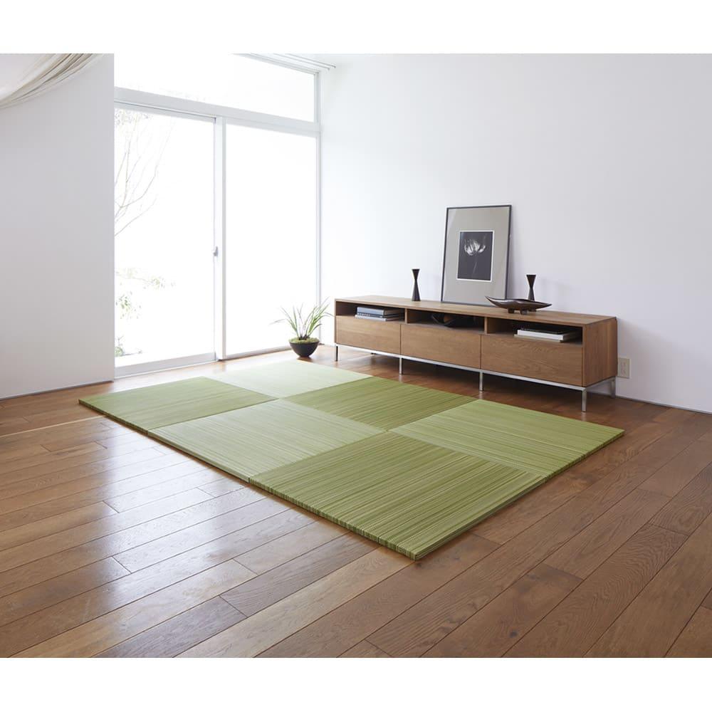 へりなしフロア畳 ミックス色 コーディネート例(ア)グリーン系  ※写真は3畳用(6枚組)です。