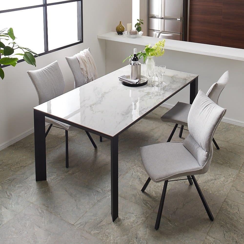 セラミック天板ダイニングシリーズ テーブル幅150cm コーディネート例(イ)ホワイト系 ※写真はテーブル幅165cmタイプです。