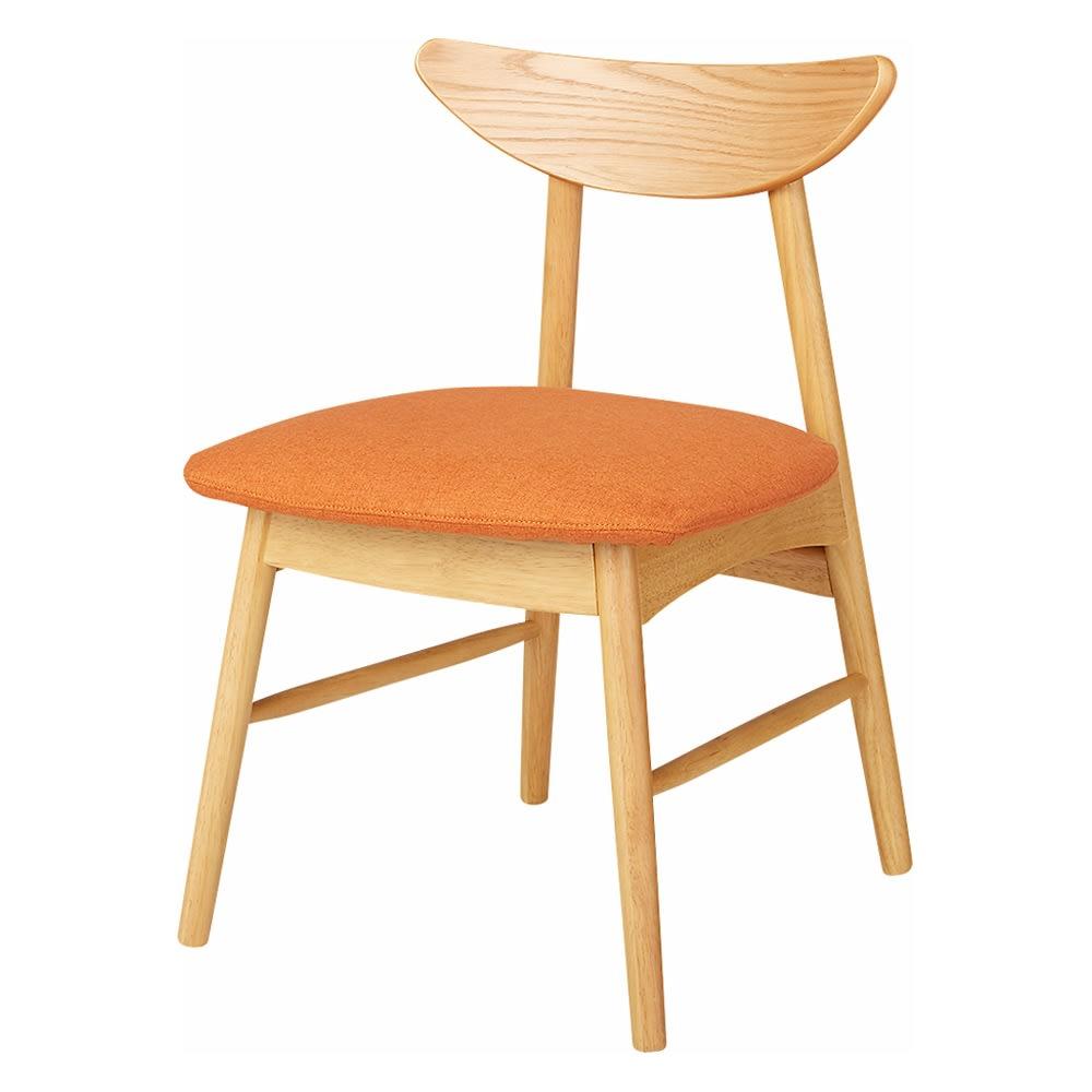 省スペース半円ダイニングセット 4点セット(テーブル幅90cm+カバーが洗えるチェア2脚組+カバーが洗えるベンチ) (ウ)ナチュラル×オレンジ