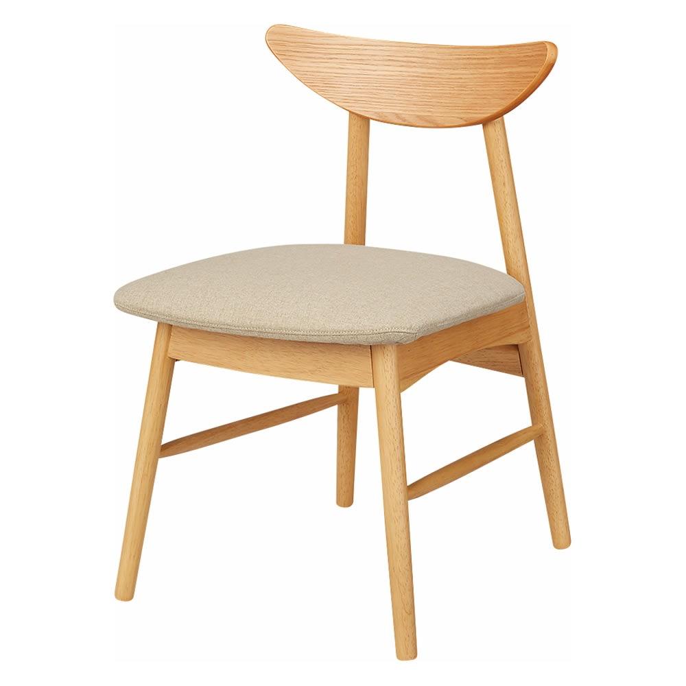 省スペース半円ダイニングセット 4点セット(テーブル幅120cm+カバーが洗えるチェア2脚組+カバーが洗えるベンチ) (ア)ナチュラル×ベージュ