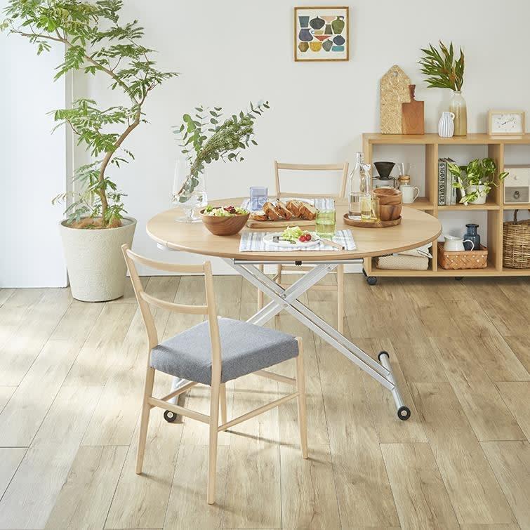 丸形昇降バタフライテーブル幅100 (イ)ナチュラル 高さが自由に昇降できるので、使いやすい高さに調整できます。