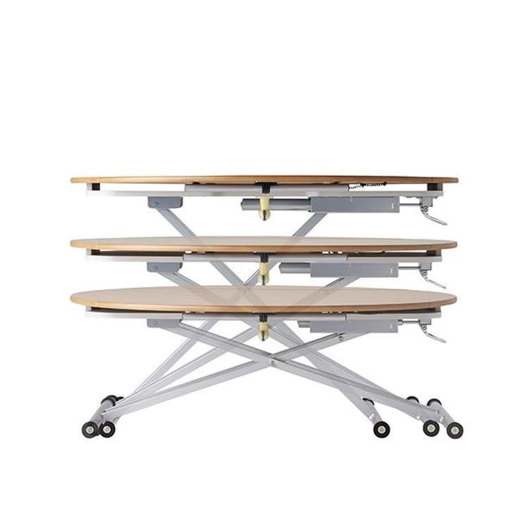 丸形昇降バタフライテーブル幅100 本体の天板高さは、40~76cmの範囲で無段階に昇降します。(床から天板下高さは35~71cmで昇降します)