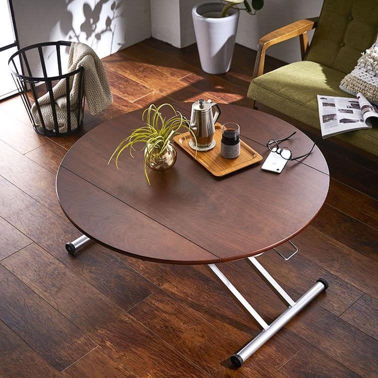丸形昇降バタフライテーブル幅100 (ウ)ダークブラウン ウォルナット天然木突板を使用しており、流れるような木目が上質でモダン。