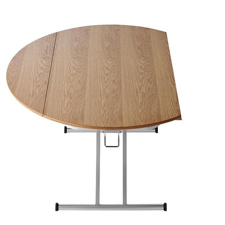 丸形昇降バタフライテーブル幅120 天板片側伸長時サイズ 幅120奥行95cm