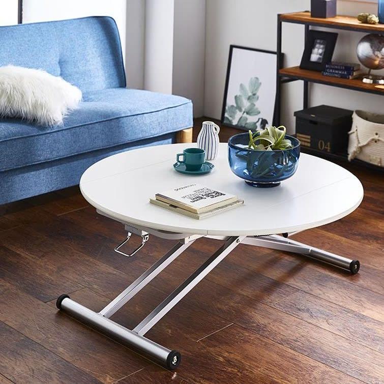 丸形昇降バタフライテーブル幅120 (ア)ホワイト モダンでスタイリッシュなインテリアにぴったりです。