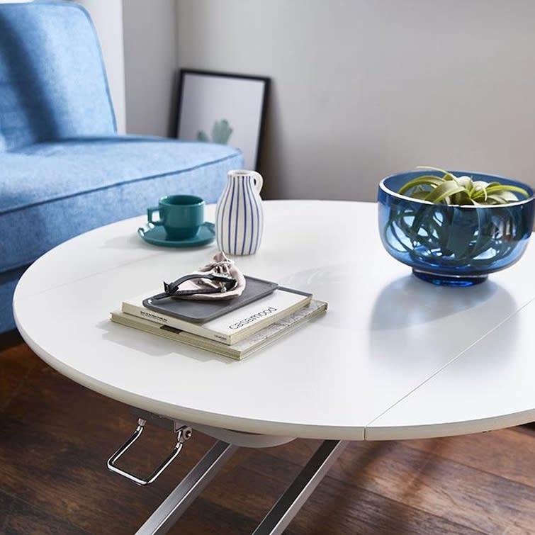 丸形昇降バタフライテーブル幅120 (ア)ホワイト 天板はメラミン化粧板なので、傷や汚れに強くお手入れも簡単です。