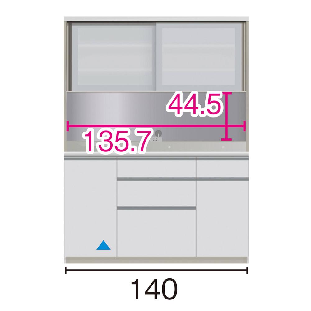 サイズが豊富な高機能シリーズ ダイニング深引き出し 幅140奥行45高さ187cm/パモウナ JZA-S1400R ※赤文字は内寸、黒文字は外寸表示です。(単位:cm) オープン部奥行40.5cm ▲部分の収納部は開扉です。