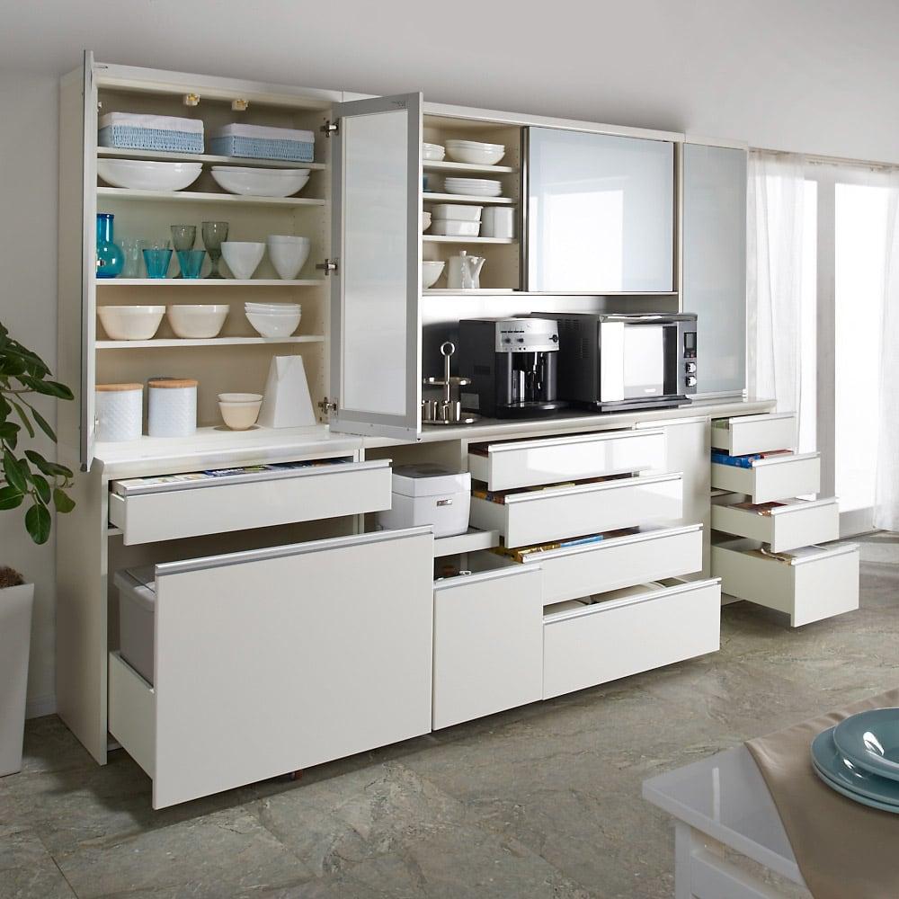 サイズが豊富な高機能シリーズ 食器棚深引き出し 幅60奥行45高さ187cm/パモウナ JZ-S601K コーディネート例