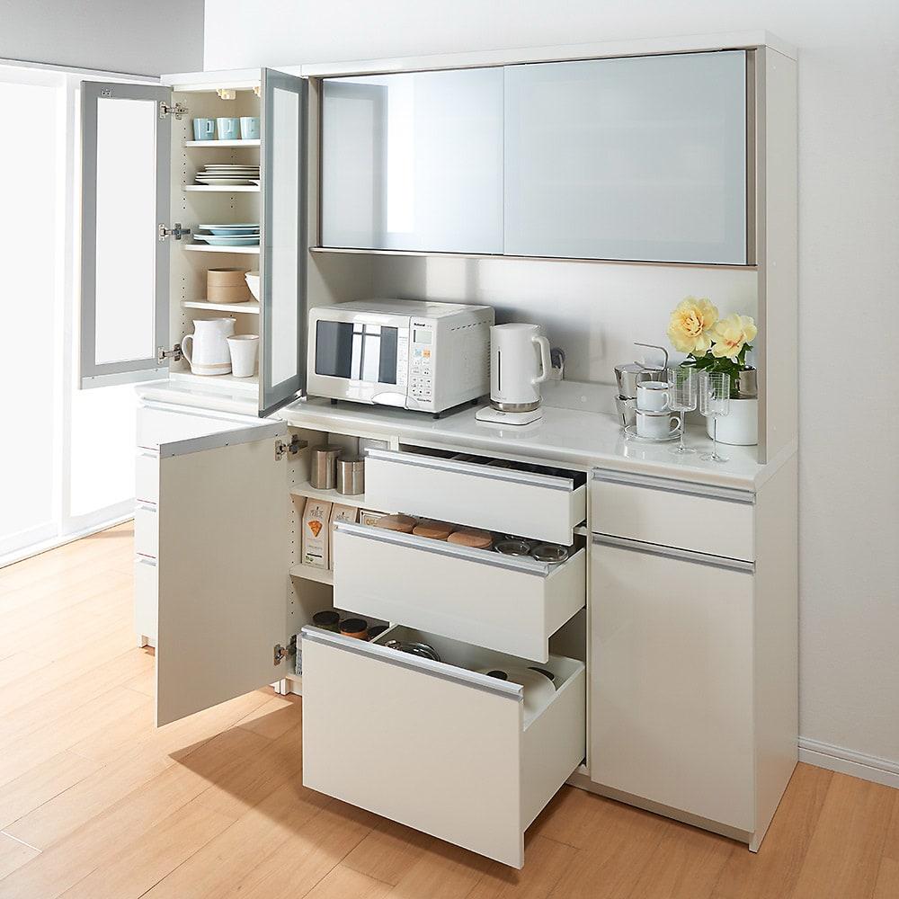 サイズが豊富な高機能シリーズ 食器棚引き出し 幅40奥行50高さ187cm/パモウナ JZ-400KL JZ-400KR コーディネート例