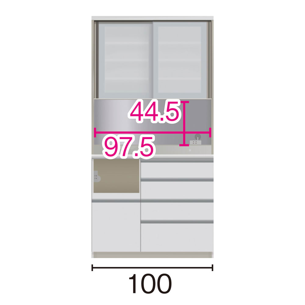 サイズが豊富な高機能シリーズ ダイニング家電収納 幅100奥行45高さ198cm/パモウナ VZL-S1000R VZR-S1000R (イ)家電収納の位置:左 ※赤文字は内寸、黒文字は外寸表示です。(単位:cm) オープン部奥行40.5 スライドテーブル部幅34.5高さ28.9奥行38cm