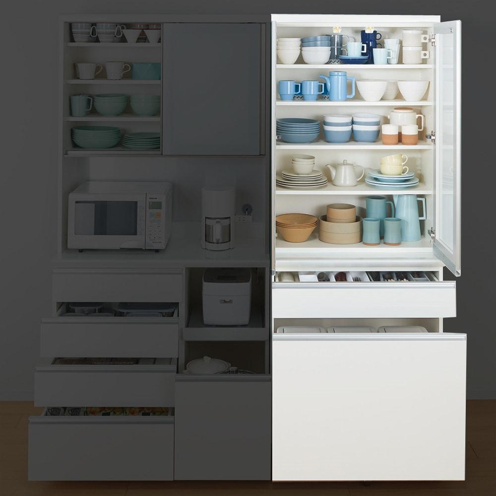 サイズが豊富な高機能シリーズ 食器棚深引き出し 幅80奥行45高さ198cm/パモウナ VZ-S801K