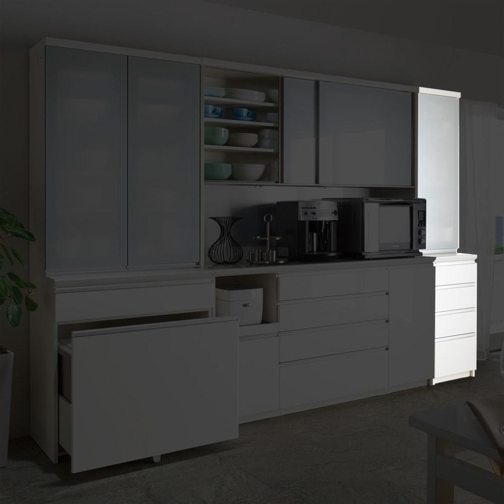 サイズが豊富な高機能シリーズ 食器棚引き出し 幅40奥行50高さ198cm/パモウナ VZ-400KL VZ-400KR
