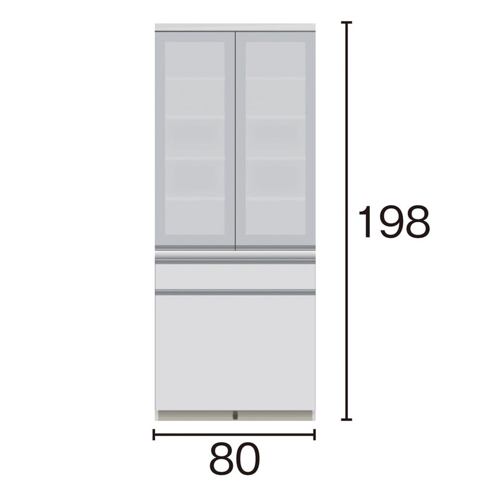 サイズが豊富な高機能シリーズ 食器棚深引き出し 幅80奥行50高さ198cm/パモウナ VZ-801K