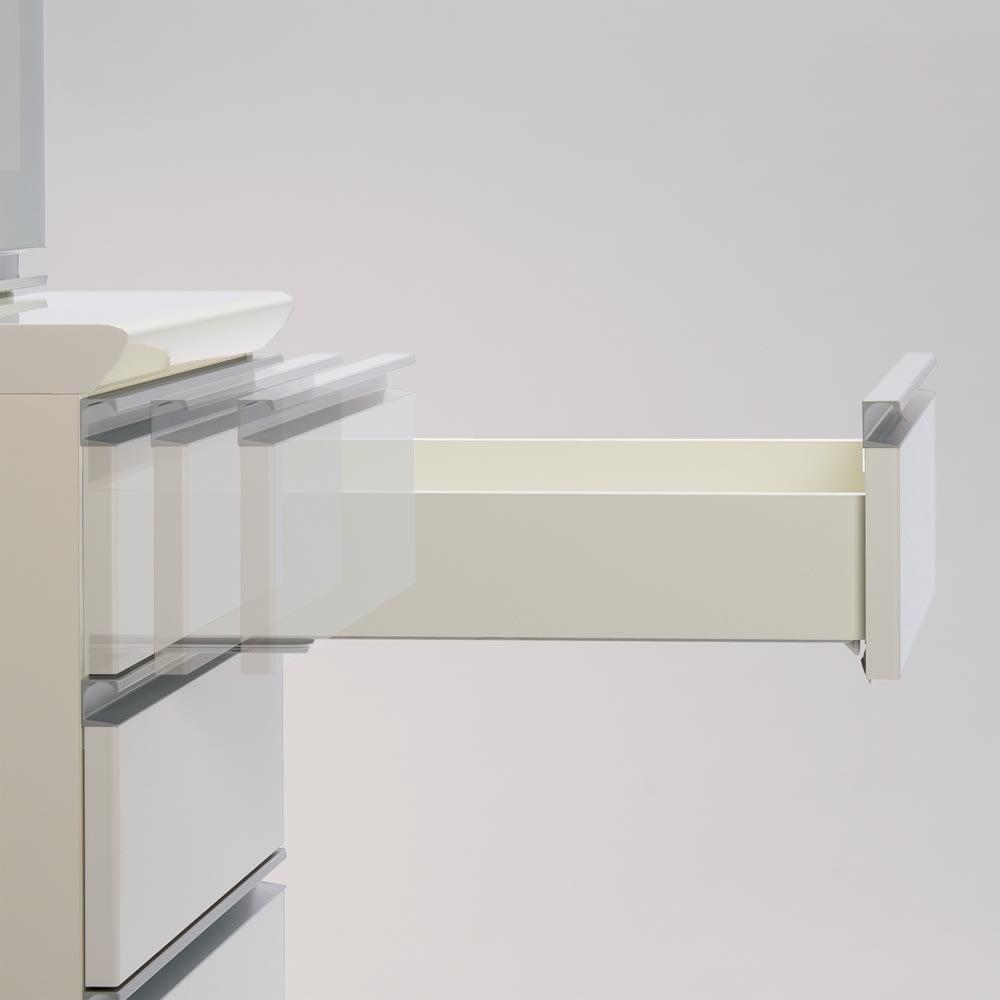 サイズが豊富な高機能シリーズ カウンター引き出し 幅120奥行45高さ84.8cm 引き出しは、全段ゆっくり閉まるサイレントシステムを採用。