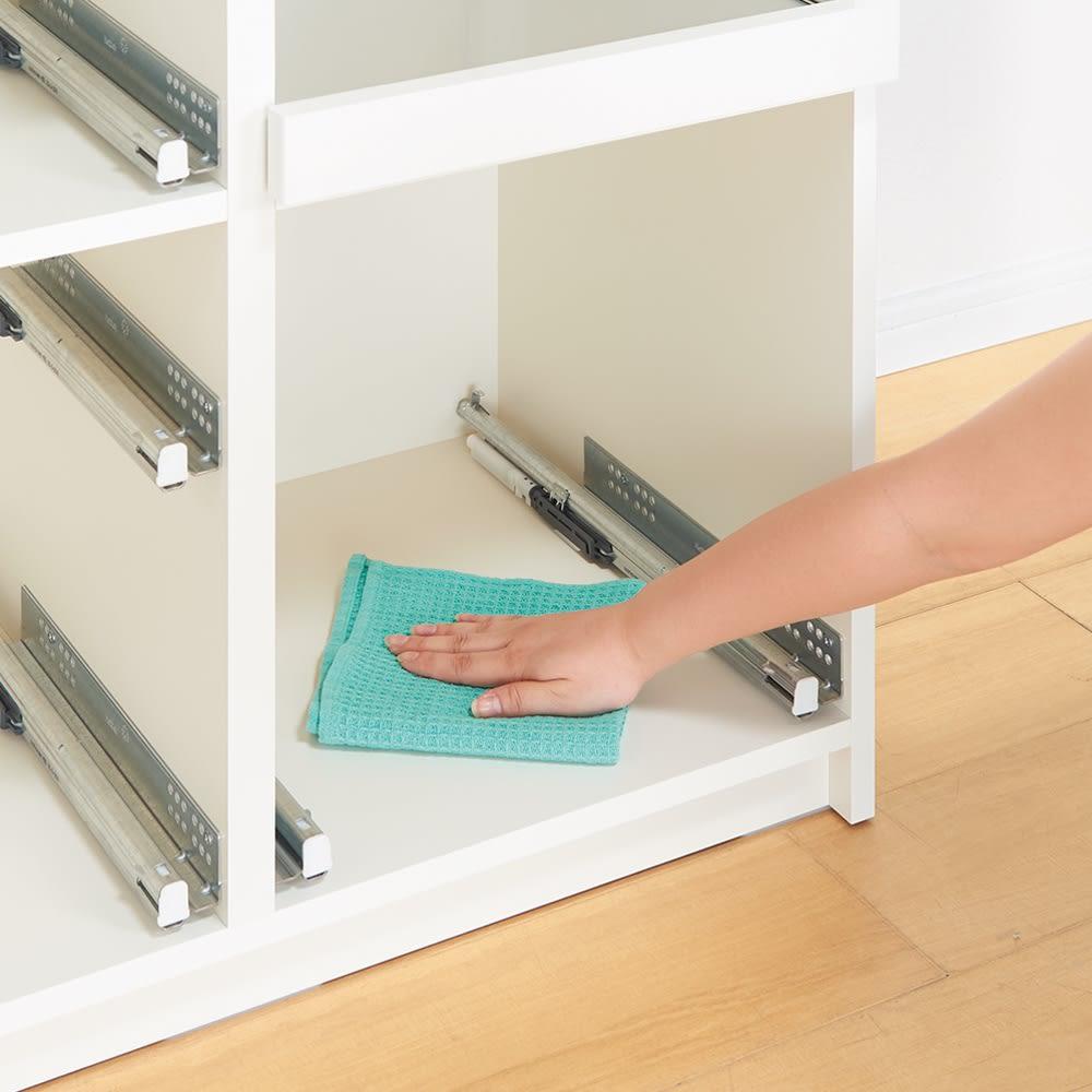 サイズが豊富な高機能シリーズ カウンター家電収納 幅140奥行50高さ84.8cm 引き出しも本体も、内部まで化粧仕上げ。お掃除が簡単で、いつも清潔。