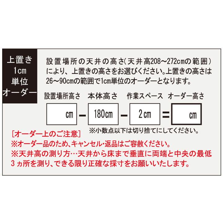 大型パントリーシリーズ 上置き(高さオーダー) 幅75.5cm・高さ26~90cm 上置き1cm単位オーダー