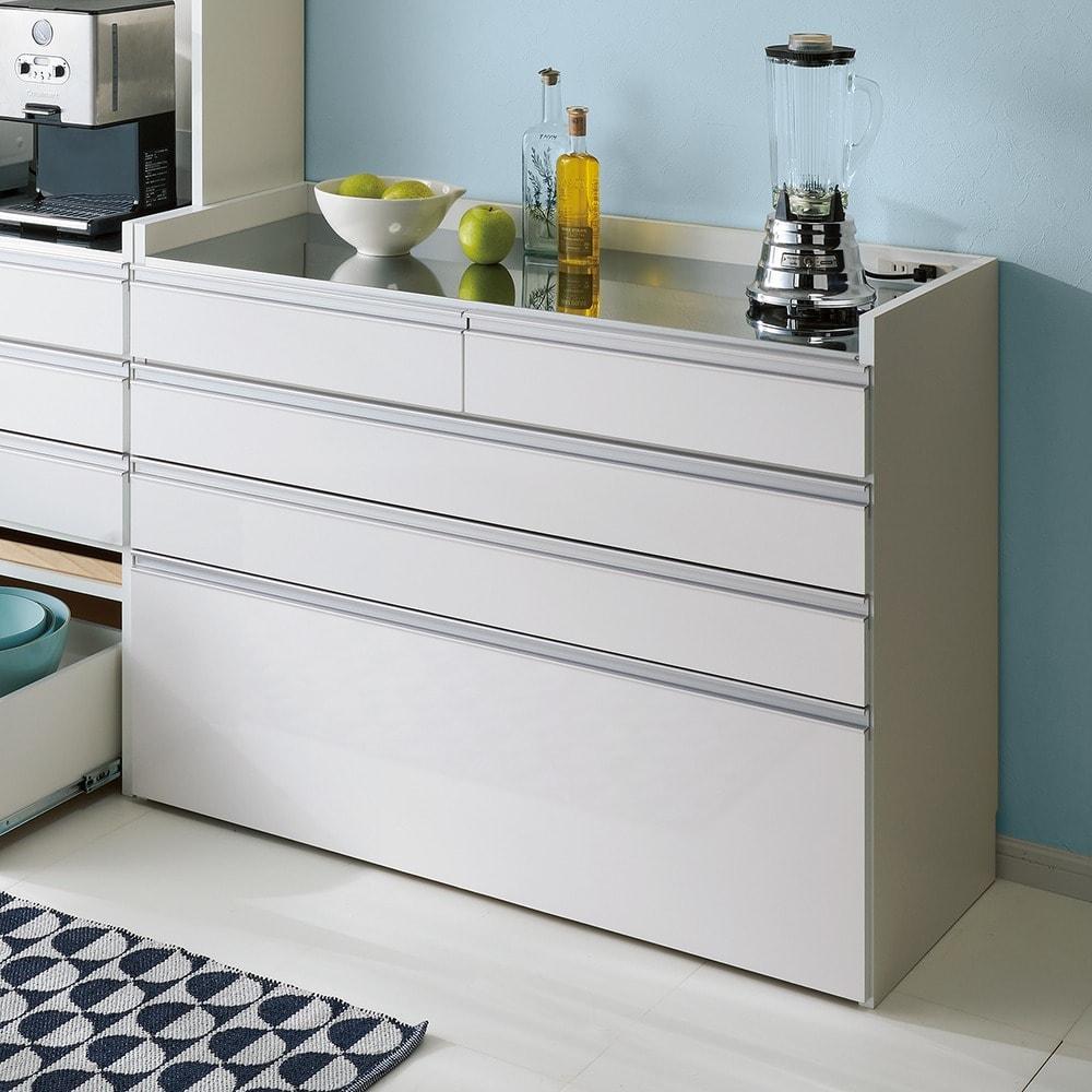 大型レンジ対応ステンレスクリーンキッチン カウンター 幅119cm (ア)ホワイト