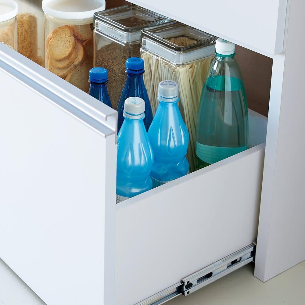 大型レンジ対応ステンレスクリーンキッチン キッチンボード 幅60cm 最下段引き出しの可動棚を外せば背の高い物も収納できます。