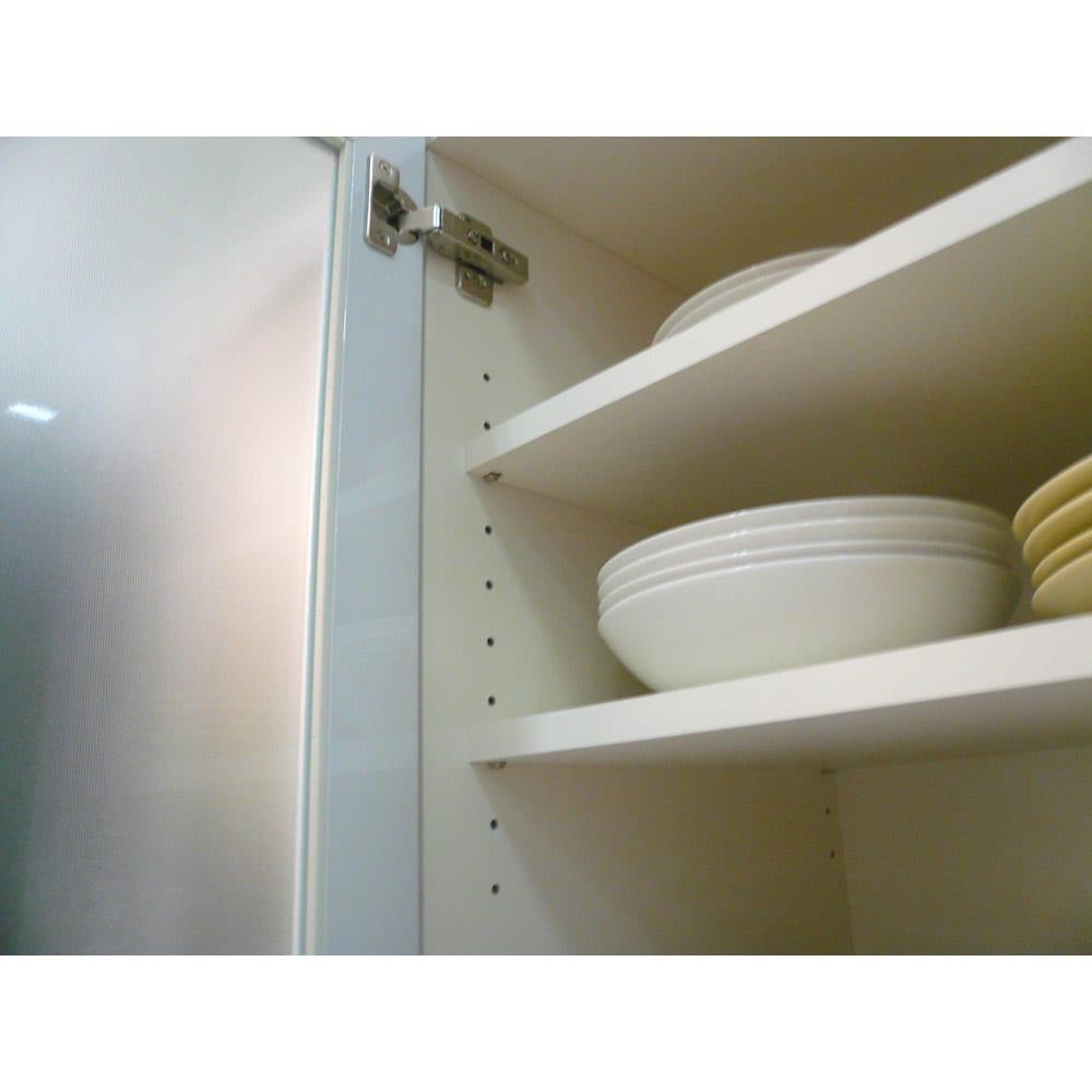 奥行40cm薄型クリーンボディキッチンボードシリーズ レンジボード幅75cm  [パモウナYC-S750R] うっすらキッチンの収納物を隠せる上質感。