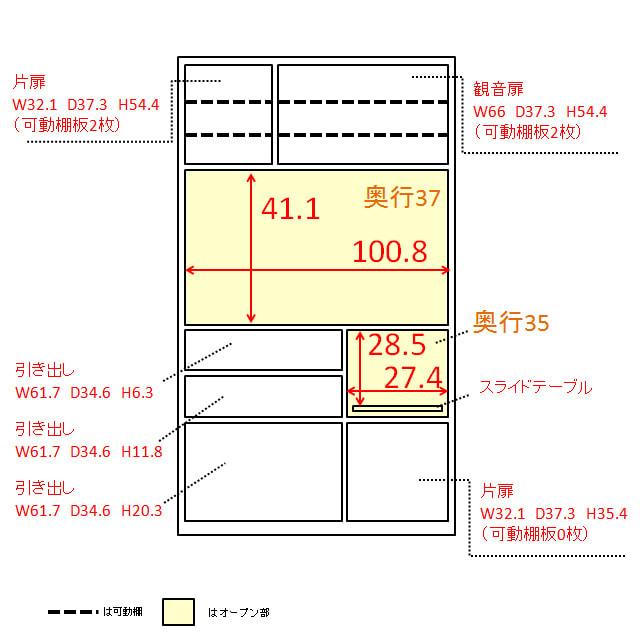 奥行40cm薄型クリーンボディキッチンボードシリーズ レンジボード幅104.5cm [パモウナYC-S1050R] 内寸図(単位:cm)