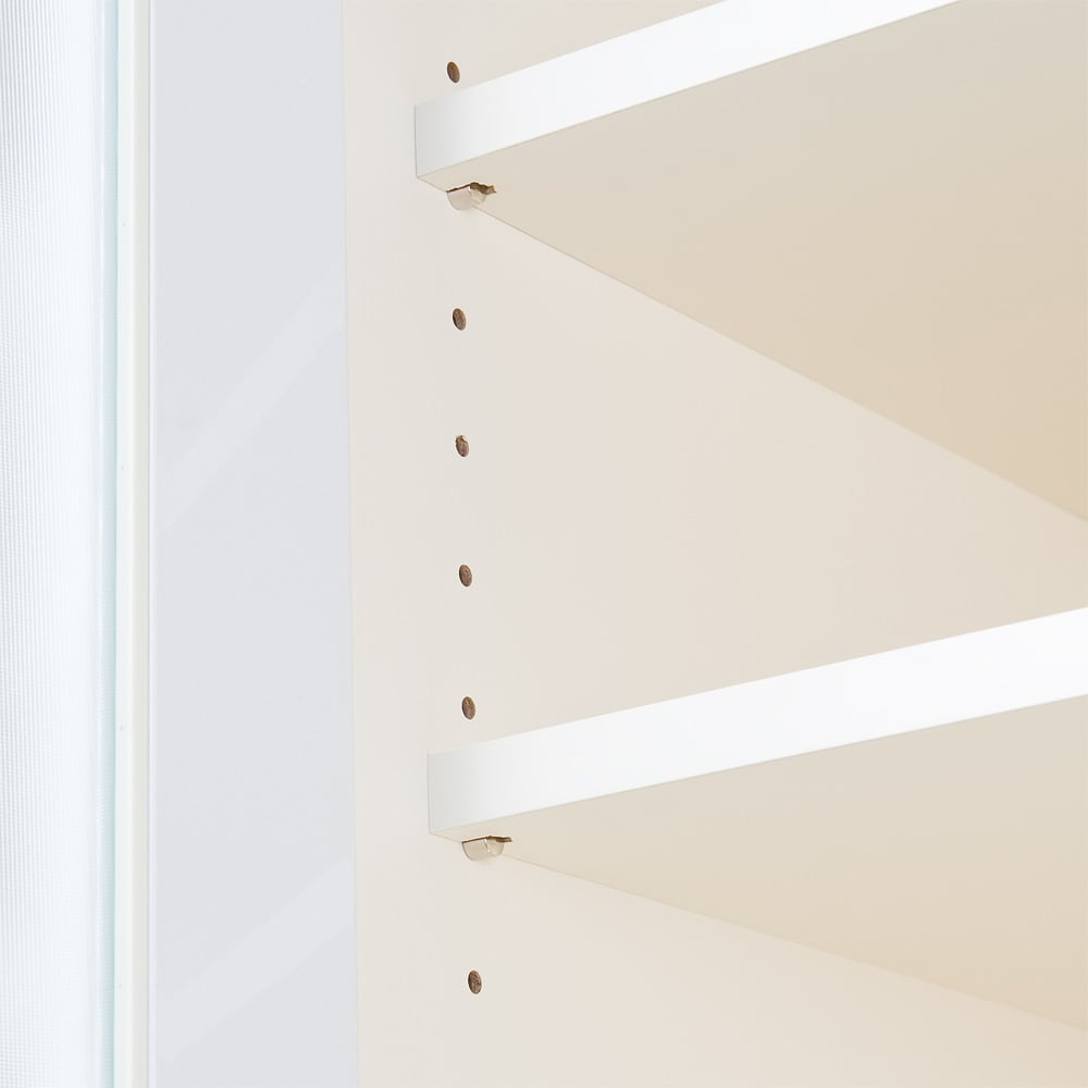 奥行40cm薄型クリーンボディ一キッチンボードシリーズ 省スペース奥行食器棚 カップボード幅80cm [パモウナYC-S800K] 可動棚板は調理家電や調理器具、お皿の収納などいろいろなキッチン収納に対応します。