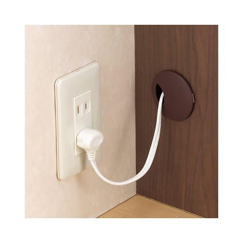 アルダー天然木人工大理石トップ 間仕切り家電収納キッチンカウンター 幅120cm コンセント穴がサイドにあるので、壁にぴったり密着して設置できます。