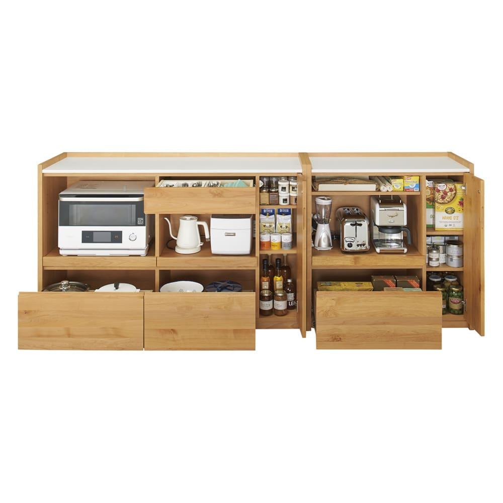 アルダー天然木人工大理石トップ 間仕切り家電収納キッチンカウンター 幅144cm コーディネート例(ア)ナチュラル
