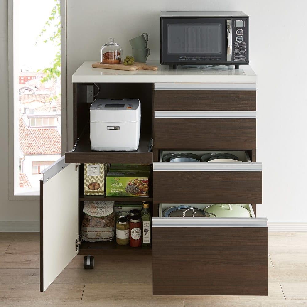 キッチンの間仕切りにも!家電が使いやすい腰高キッチンカウンター 幅90cm [パモウナ WH-90W] コーディネート例(イ)ダークブラウン