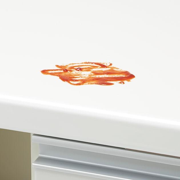 キッチンの間仕切りにも!家電が使いやすい腰高キッチンカウンター 幅120cm [パモウナ WH-120W] 美しい輝きの天板は、キズや汚れにも強いEBコート仕様。