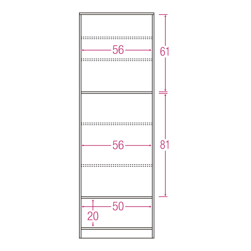食器もストックもたっぷり収納!天井ぴったりキッチンシリーズ 食器棚 幅60cm奥行50cm 内寸図(単位:cm)