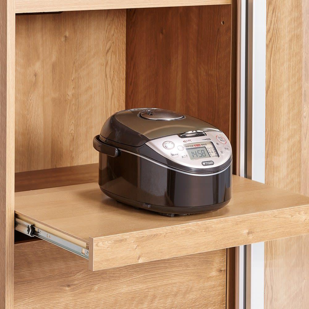食器が取りやすい引き戸式魅せる収納庫 幅140奥行50cm 【家電収納部】蒸気の出る家電もOKなスライド棚付き。