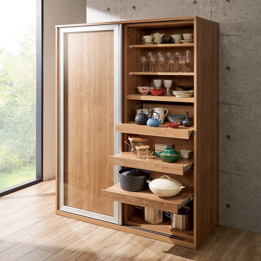 食器が取りやすい引き戸式魅せる収納庫 幅140奥行57.5cm (イ)ブラウン