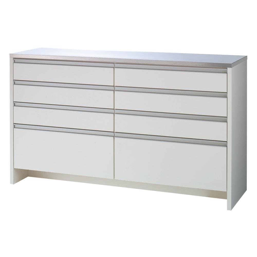 ステンレストップ間仕切りカウンター 幅150cm たっぷりの8杯引き出し!!キッチン収納家具は収納力で選びましょう。  前面の素材は水やすり傷などに強く光沢の美しいポリエステル化粧合板を使用しています。