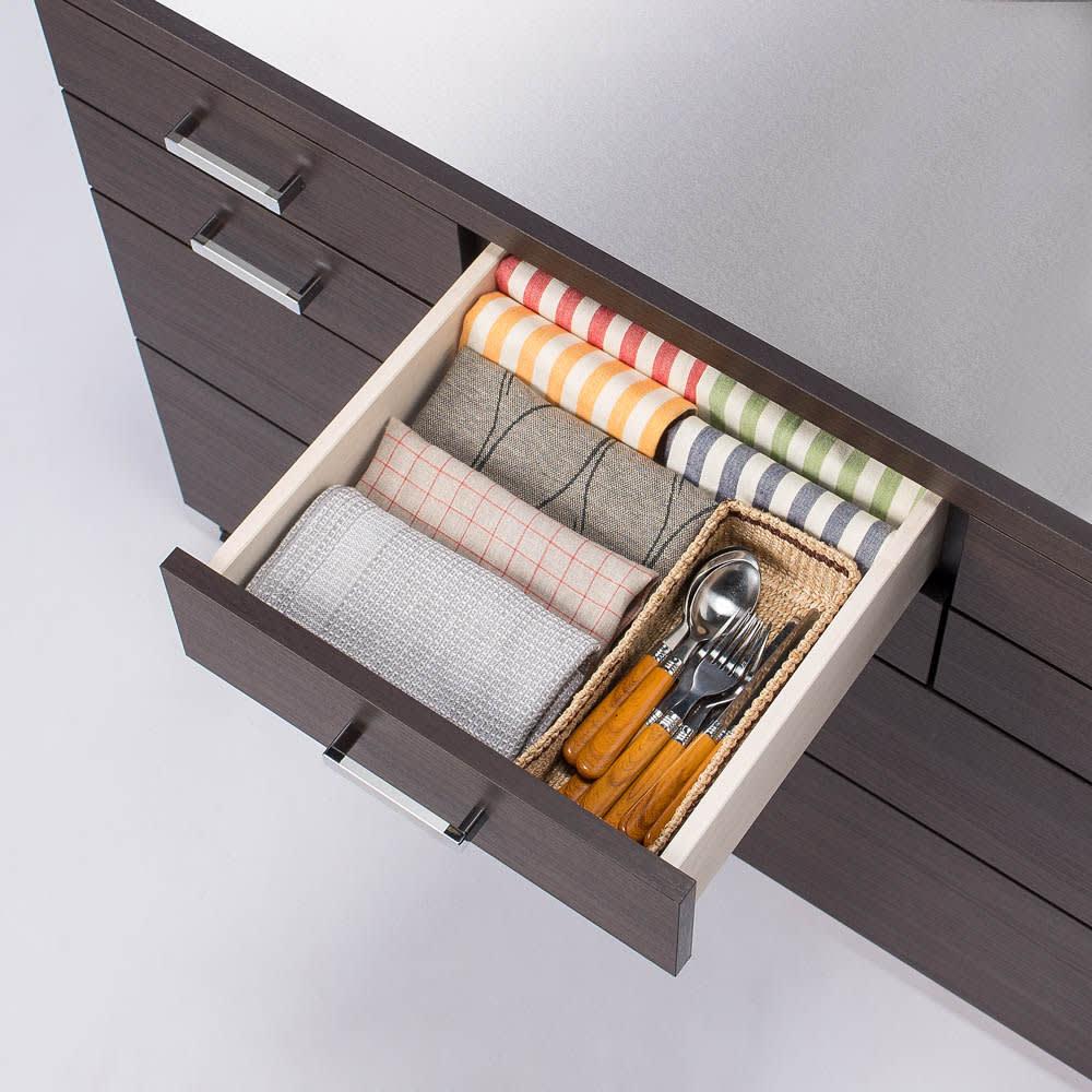 【分類して効率収納】引き出しいっぱいステンレストップカウンター 幅60cm 小引出し収納イメージ ※写真は幅119cmタイプ