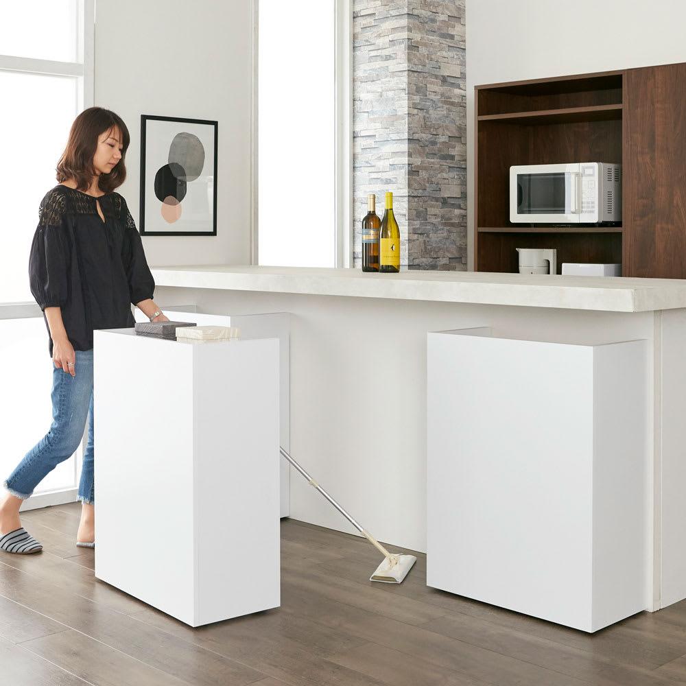 隠せるカウンター下収納 棚タイプ 幅79高さ80cm コーディネート例(イ)ホワイト