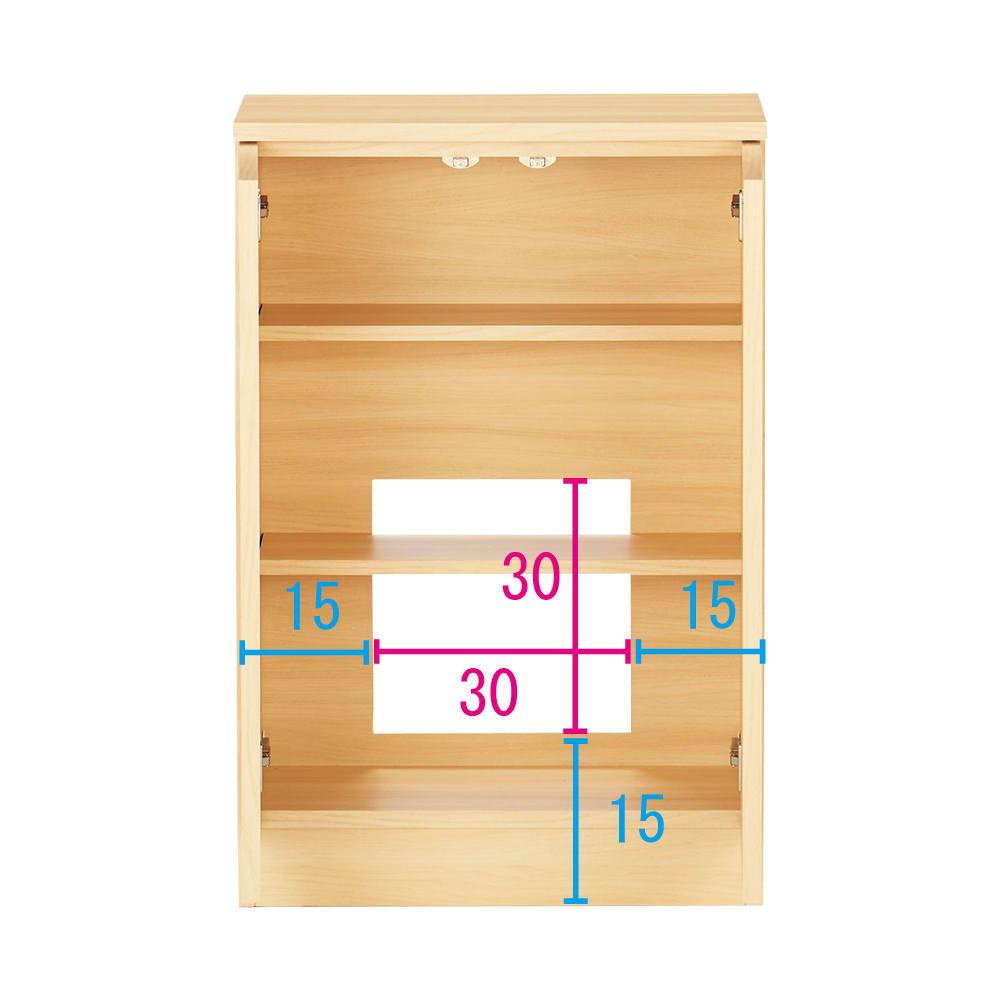 配線すっきりカウンター下収納庫 2枚扉 《幅60cm・奥行35cm・高さ77~103cm/高さ1cm単位オーダー》 (イ)ライトアッシュ コンセントを生かす工夫 コンセントの高さ部分に背板がないので、壁にぴったり付けてもコンセントが使えます。 ※赤文字は内寸 青字は外寸(単位:cm)