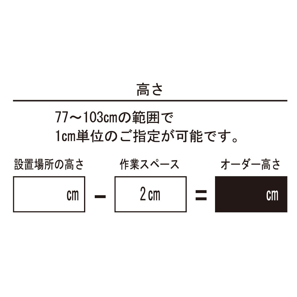 配線すっきりカウンター下収納庫 3枚扉 《幅90cm・奥行20cm・高さ77~103cm/高さ1cm単位オーダー》 高さは1cm単位でオーダーできます。
